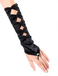 Women Elbow Length Fingerless Gloves | Satin Evening Party Bridal Burlesque | eBay