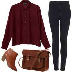 """Burgundy blouse"" by hanaglatison on Polyvore"
