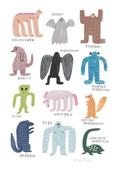 Min Pin is an illustration based design label that specializes in fine jewellery, ceramics and textiles. Min Pin believes in compassionate design, quality workmanship, sustainability and fun! Monster Mash, Monster Party, Sea Serpent, Loch Ness Monster, Mothman, Cryptozoology, Animal Party, Bird Prints, Branded T Shirts