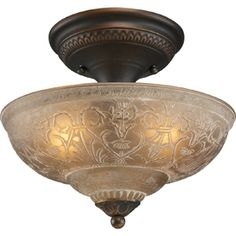 Portfolio 11.5-in W White Washed Etched Glass Semi-Flush Mount Light  LOWES ~59  --- same as above entry