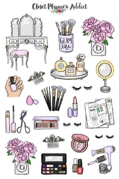 Ideas for bullet journal doodles - Makeup and Cosmetics hand drawing # Fitness journal Beauty Babe Planner Stickers Tumblr Stickers, Cute Stickers, Image Stickers, Printable Planner Stickers, Bullet Journal Doodles, Makeup Stickers, Doodle Pages, Make Up Art, Journal Stickers