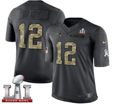 Nike Patriots #12 Tom Brady Black Super Bowl LI 51 Men's Stitched NFL Limited 2016 Salute To Service Jersey
