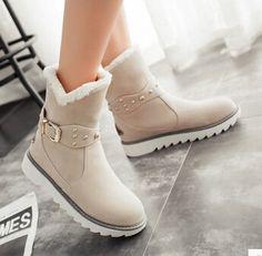 Women new fashion autumn winter warm fur snow boots preppy style flat heels round buckle shoes large plus size 40-43
