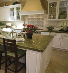Kitchen, Stunning Kitchen Blacksplashes With Adorable Natural Colors: Gorgeous Light Green Marble Backsplash For Kitchen Island And Produci...
