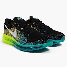 The Nike Flyknit Air Max Black/Turbo Green includes a compound of Nike's most recognized technologies.