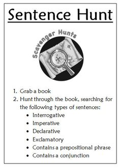 Going on a Sentence Hunt. ~Joy in the Journey~: 4 Types of Sentences activities~Joy in the Journey~: 4 Types of Sentences activities Grammar Activities, Teaching Grammar, Teaching Language Arts, Teaching Writing, Writing Activities, Teaching Tips, 2nd Grade Ela, 3rd Grade Writing, 5th Grade Reading