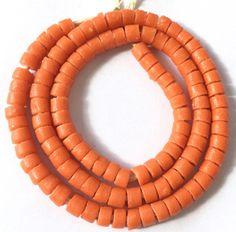 107 Handmade Orange Ghana Krobo recycled Glass Disk African trad