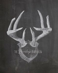 Antler Art  Chalkboard Drawing  Hand Drawn by TheBurlapBungalow, $5.00
