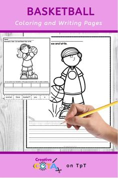 No Prep Basketball Writing Coloring Tracing Pages Activity Centers, Literacy Centers, Sentence Writing, Writing Prompts, Occupational Therapy, Speech Therapy, Small Group Activities, Simple Sentences, Handwriting Practice