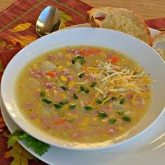 Slow Cooked Ham and Potato Chowder! Easy and yummy way to use up all the leftover Christmas/Easter ham!  Allrecipes.com
