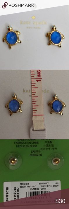"""Kate Spade blue turtle earrings NWT Blue glass turtle earrings with glass chip eyes, goldtone hardware, approx .5""""L. PRICE FIRM kate spade Jewelry Earrings"""