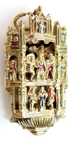 14k Gold and Enamel Temple Charm with Figures Inside from mur-sadies on Ruby Lane..