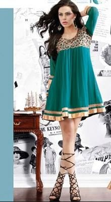 Attractive georgette designer kurti top adorn with embroidery and brocade patch border.Embroidery work is done with resham, zari, sequins and lace work. #TrendsetterLadiesKurti #PartyWearTop