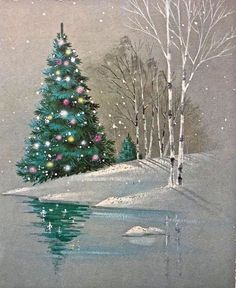 Christmas tree, birch and reflection Christmas Scenes, Christmas Past, Christmas Pictures, Winter Christmas, Christmas Crafts, Christmas Decorations, Holiday Decor, Vintage Christmas Cards, Vintage Holiday