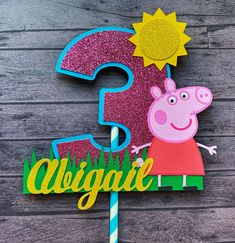 Peppa Pig Cake Topper | Peppa Pig Centerpiece Stick 30th Birthday Cake Topper, 2nd Birthday Party Themes, Pig Birthday, Birthday Decorations, Tortas Peppa Pig, Diy Cake Topper, Personalized Cake Toppers, Pig Party, House Party