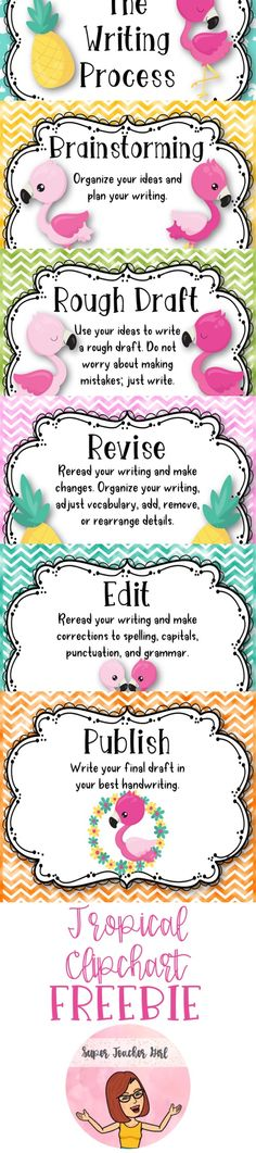 Everyone knows that flamingos and pineapples make kids love writing! Here is a super cute writing process clipchart that you can use in your tropical themed classroom.