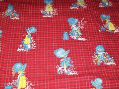 2 Yards Vintage Holly Hobbie Red Plaid Check Fabric Material Sunbonnet Manes Co #ManesfabricCo #HollyHobbieFabric