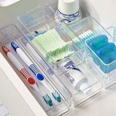 14 Organization Products You Need If You've Caught The KonMari Bug Bathroom Drawer Organization, Organization Station, Organisation Hacks, Storage Organization, Storage Ideas, Creative Storage, Organize Bathroom Drawers, Toothbrush Organization, Toothbrush Storage