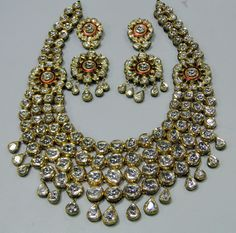 Antique 20 ct Gold Diamond necklace set kundan meena work - k-2. 38K, via Etsy.
