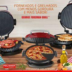 O Multi 360 Gourmet George Foreman prepara um festival completo de sabores, com menos gordura e muito mais sabor!  Ah, e com apenas um simples click, você troca a grelha pela chapa lisa! Saiba mais www.polishop.com.vc/ariadne