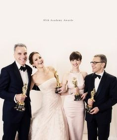 "Oscar winners 2012.  Daniel Day-Lewis (""Lincoln""),  Jennifer Lawrence (""Silver Linings Playbook""),  Anne Hathaway (""Les Misérables""),  Christoph Waltz (""Django Unchained"")."