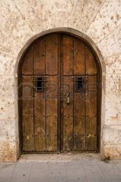 Picture of Old wooden door from medieval era. stock photo, images and stock photography. Old Wooden Doors, Old Doors, Entrance Doors, Doorway, Blender Models, Illustrations, Bougainvillea, Tall Cabinet Storage, Pixar