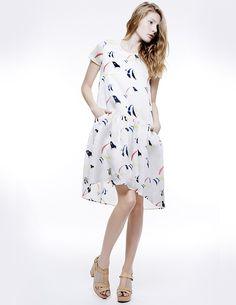 MIDI BACK TRAIN DRESS, Colección primavera-verano 15