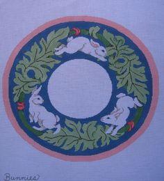 Bunnies Needlepoint Canvas Easter Wreath by Sandra Gilmore