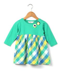 Love this Green Plaid Crochet Flower Dress - Infant & Toddler by Beebay on #zulily! #zulilyfinds