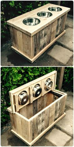 Pallet dog feeder and storage at the same time - probablyn eeds to be built around a plastic container to keep bugs out