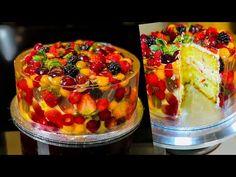 FRUIT SPONGE CAKE with JELLY Original recipe   Amazing jello fruit cake   Fruit cake recipe - YouTube Fruit Sponge Cake, Sponge Cake Easy, Cake Recipes With Fruit Filling, Jello Recipes, Dessert Recipes, Cake Decorated With Fruit, Cake Made Of Fruit, Jello Cake, New Year's Cake