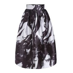 SheIn(sheinside) Black White High Waist Smoke Print Skirt ($24) ❤ liked on Polyvore featuring skirts, multi, high waisted flare skirt, flared skirt, patterned maxi skirt, black white maxi skirt and black and white maxi skirt