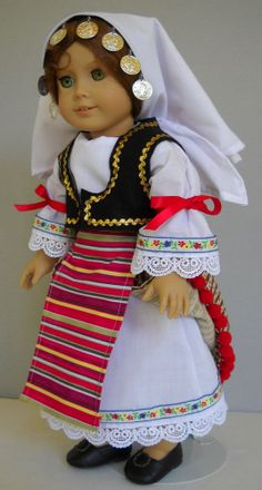 "Fits 18"" American Girl doll Serbian Serbia folk dress clothes B (COSTUME ONLY)"