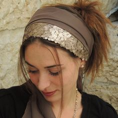 Sparkling  Headband tichel  ,Snood, Head Scarf,Head Covering,jewish headcovering,Scarf,Bandana,apron