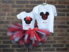 Red and Black Minnie and Mickey Mouse BIrthday Tutu Outfit and Boy Shirt Twins Siblings. $74.95, via Etsy.