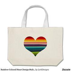 Rainbow Colored Heart Design Multicolor Stripes Large Tote Bag