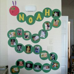 Very hungry (centipede) caterpillar showing pictures of Noah throughout the year.
