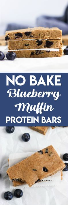 No Bake Blueberry Muffin Protein Bars. Your favorite muffin in the form of a protein bar! Dried blueberries, a hint of cinnamon and all the goodness in these delicious bars. #proteinbar #blueberrymuffin #snack #protein