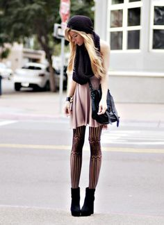 Want this whole outfit. I love tights