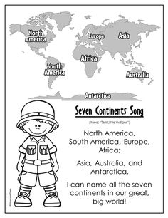 """Free printable Seven Continents Song sung to the tune of """"Ten Little Indians"""". Includes printable with facts about each continent."""