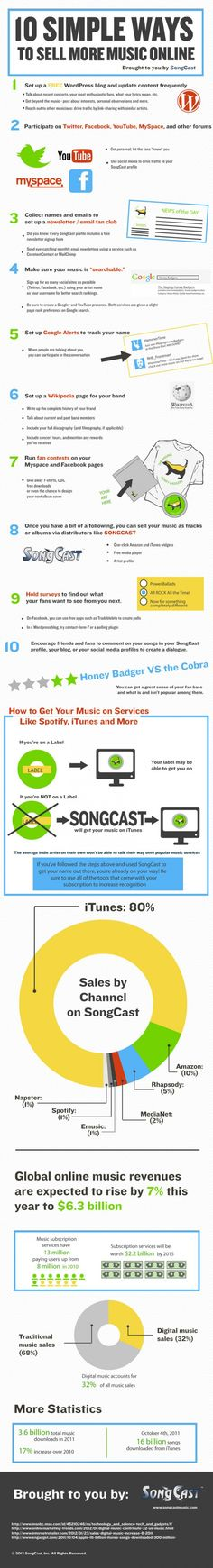 This infographic is a representation of proven music promotion techniques that help musicians and bands to sell music online. Through promotion tactics such as online, social media, merchandise and others, artists are able to connect better with their current and potential fans. I