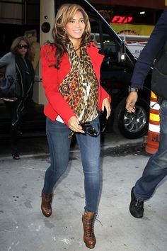 I am obsessed with this look. I need a red blazer and leopard scarf asap!!...and I'm obsessed with Beyonce too.