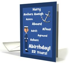 Harry Custom 22nd #Birthday #Britishnavy #Sailor Nautical Word Humour card. I was in a nautical mood this week and expanded my British Navy series to include some customizable versions where you can personalize with a name or relationship and the age. I am adding some U.S. Navy versions, too.©PamJArts