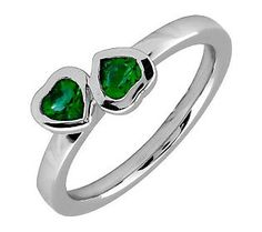 Simply Stacks Sterling & Created Emerald Double-Heart Ring $53 #Rings #Jewelry #Wedding #EmeraldRings