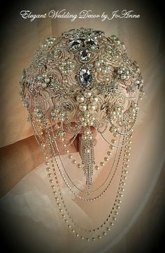 VINTAGE GLAM Bridal Brooch Bouquet, DEPOSIT for Custom Pale Pink Cascading Jeweled Wedding Bouquet, Glam Brooch Bouquet , Brooch Bouquet