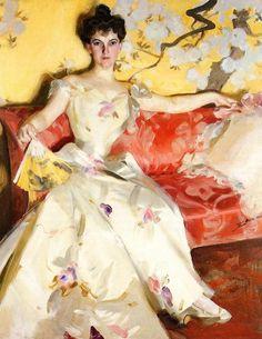 Portrait of Elizabeth Sherman Cameron, Oil On Canvas by Anders Zorn (1860-1920, Sweden)