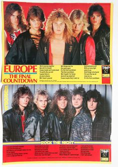 Europe Joey Tempest Norum Rock The Night The Final Countdown clippings France