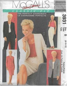 McCall's 3931 Size 8-10-12, 14-16-18 Palmer Pletsch Classic Fit Perfect Coordinates Misses' Jackets, Top, Pants and Skirt Sewing Pattern UC by LadybugsandScorpions on Etsy
