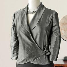 Silk Dupioni Wrap Jacket