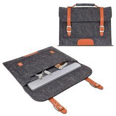 Filztasche für Microsoft Surface Pro 3 Sleeve Schutzhülle mit Tragegriff und Riemen Cover Tasche Hülle Dunkelgrau & Braun - nur für den Transport mit Keyboard Cover!